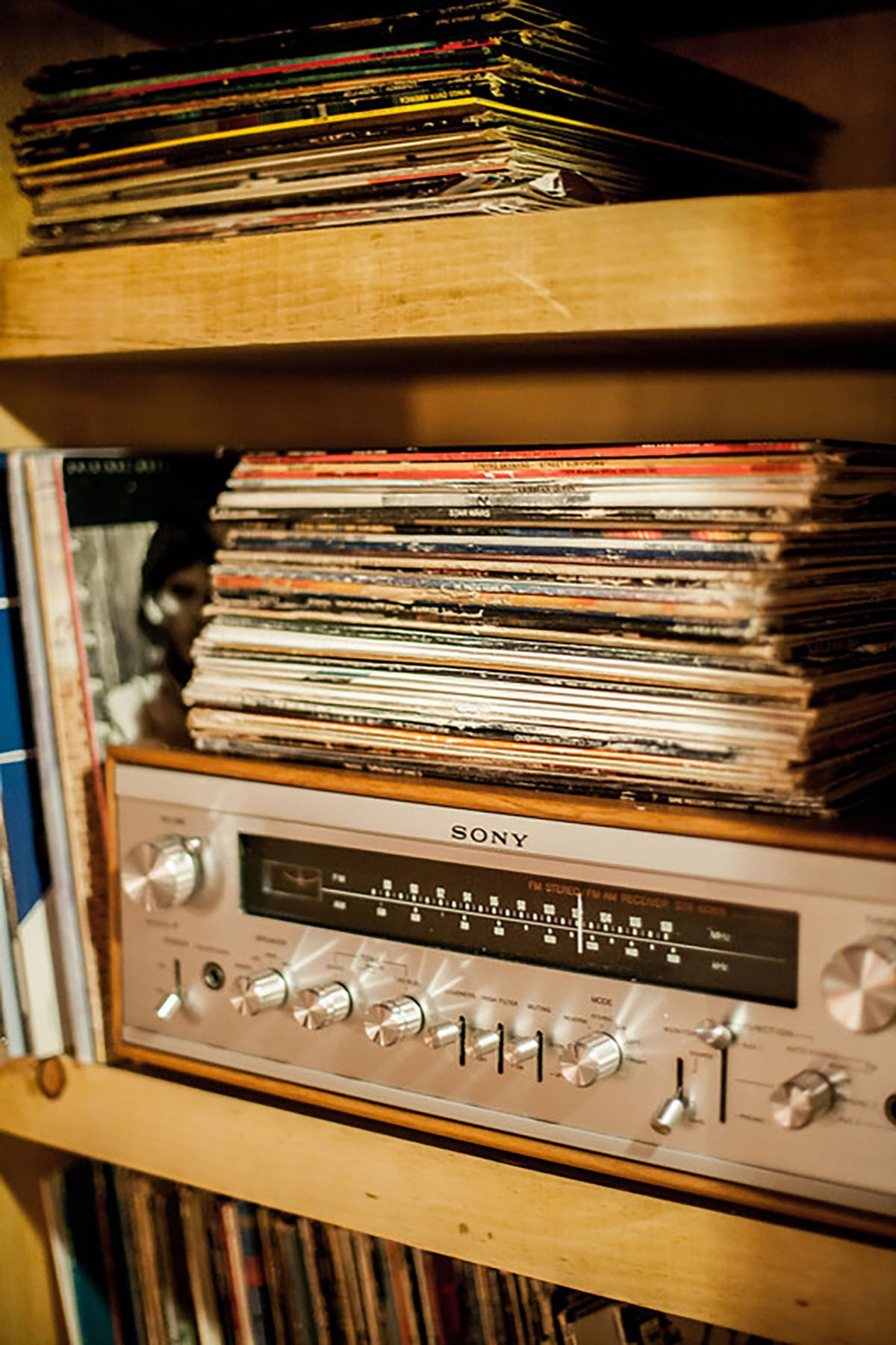 Vinyl Record Player AUX and record collection at The Rec Room