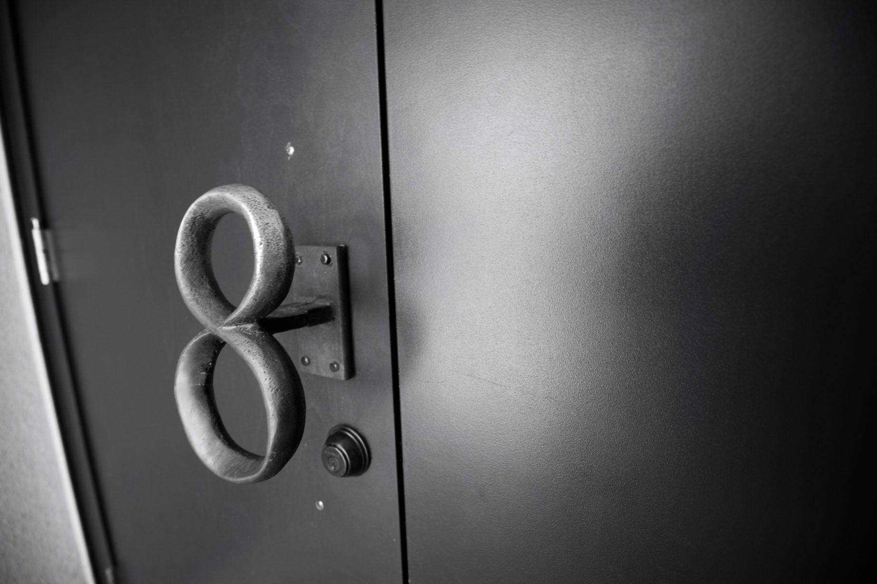 The number 8 door handle for nightclub Number 8