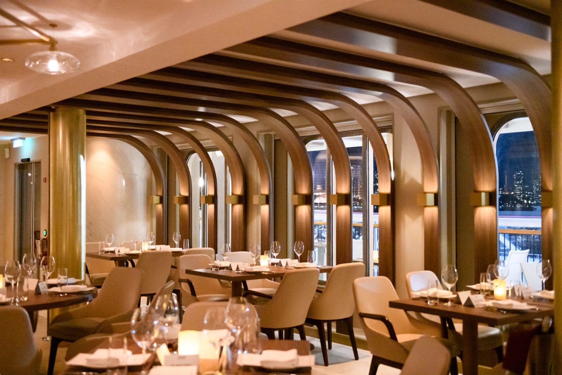 Interior of Onda by Scarpetta restaurant, water view