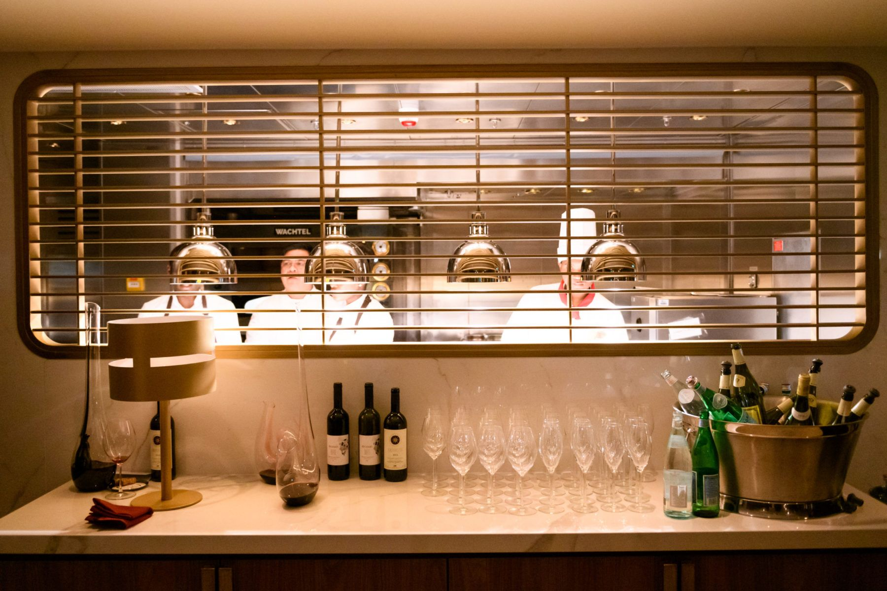View of chefs in the kitchen at Onda by Scarpetta
