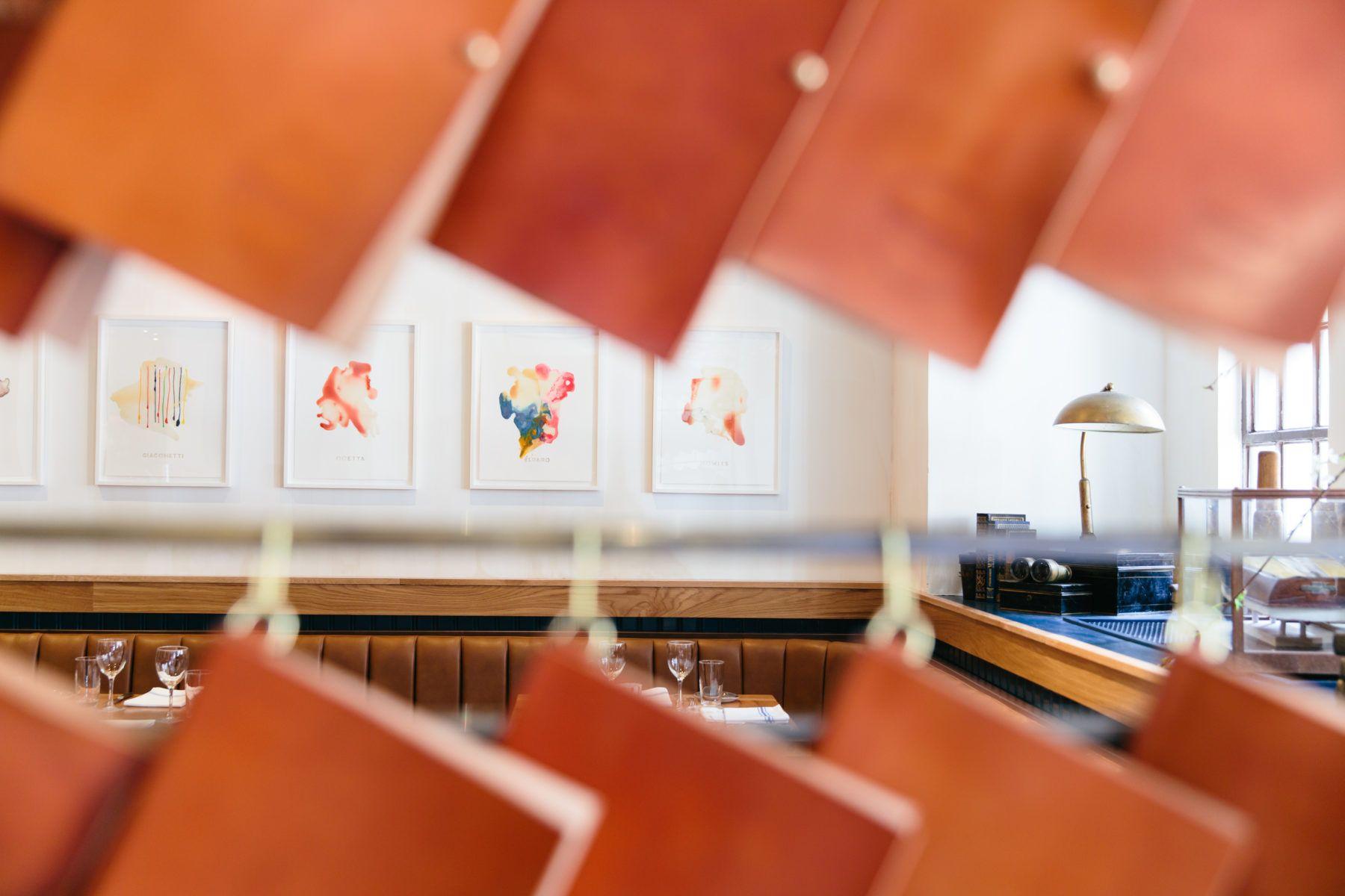 Bachetta Restaurant interior, colorful art on the wall