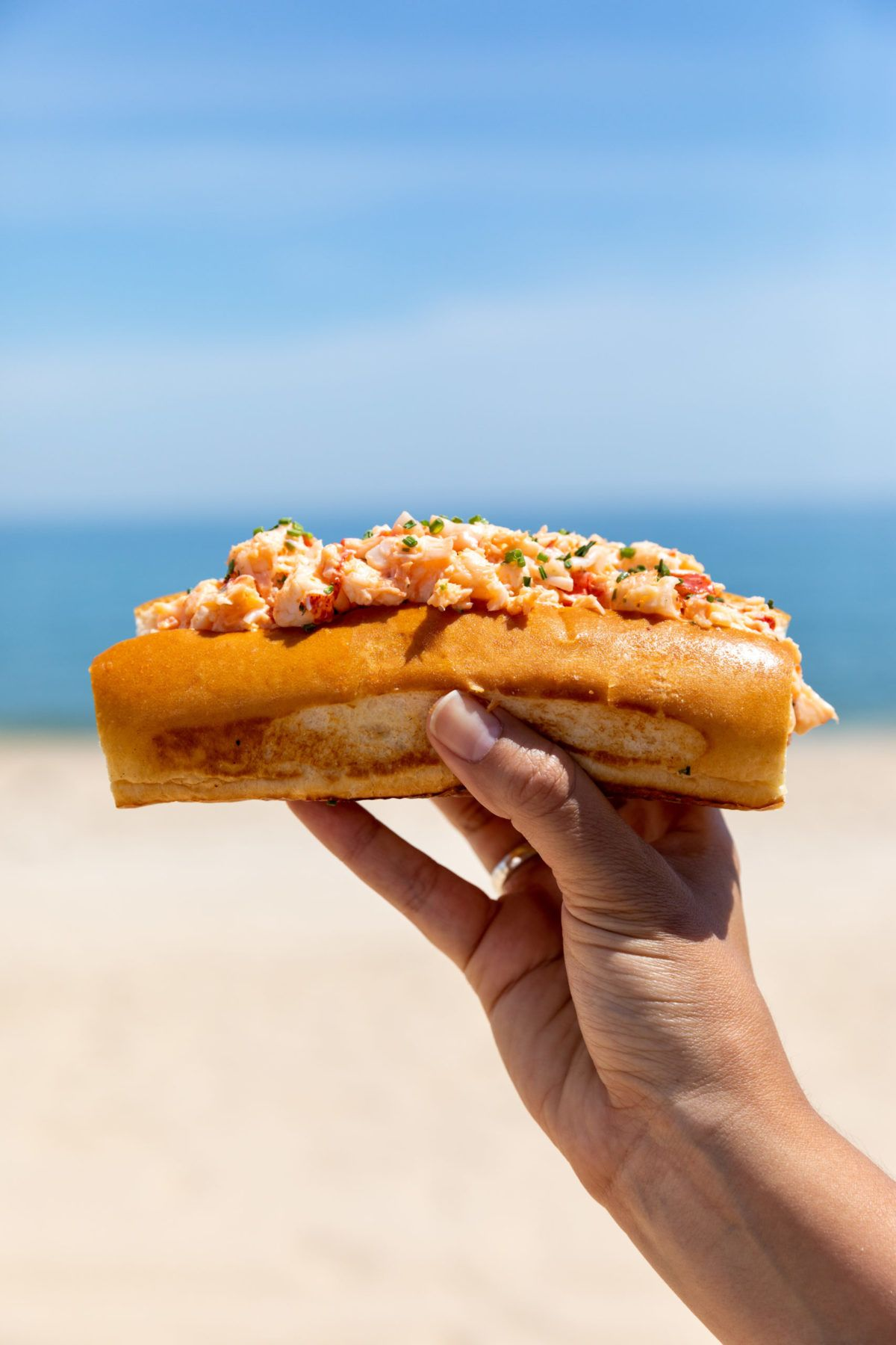Hand holding up a lobster role with ocean background