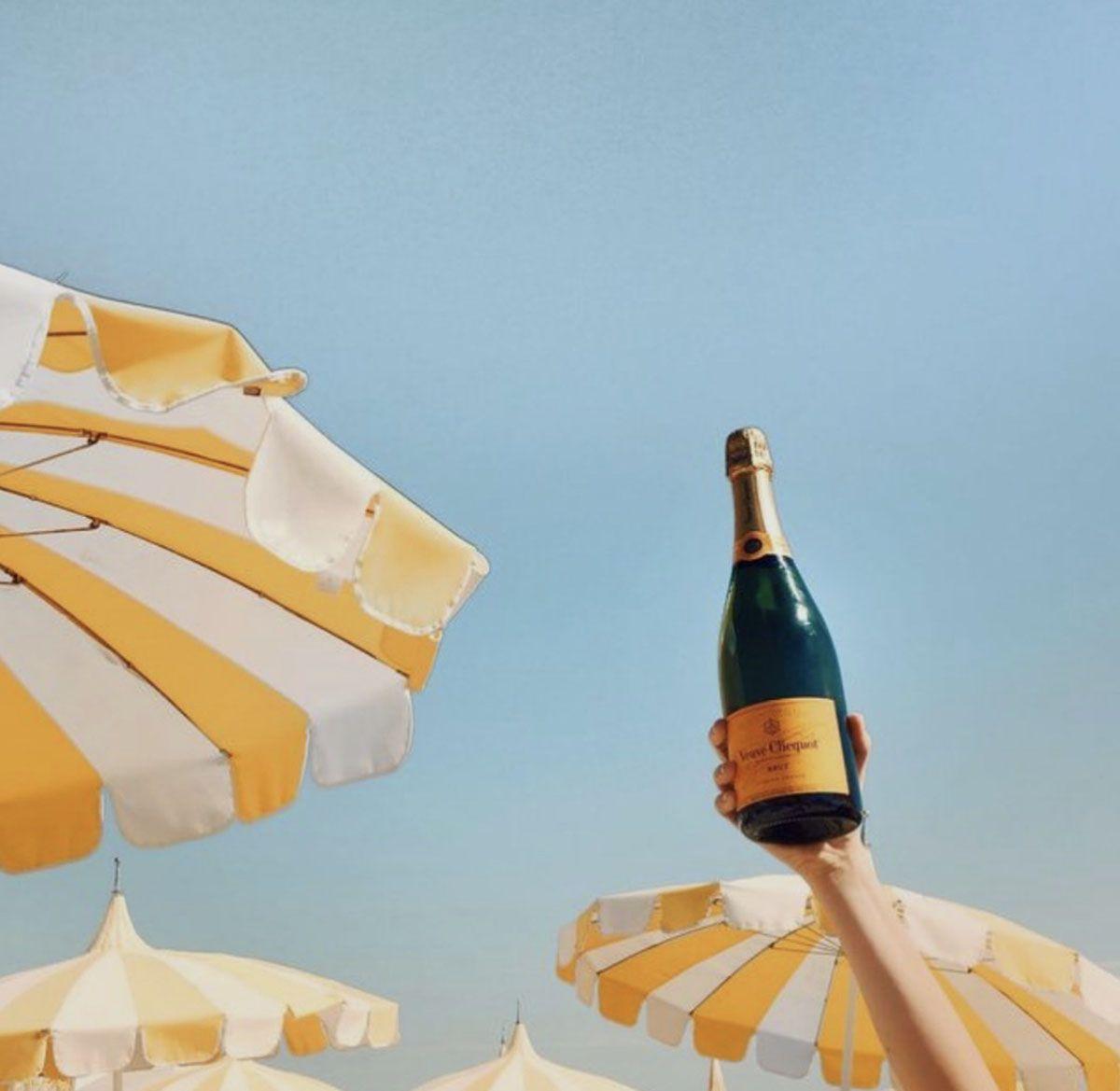 Beach Club White and Yellow Striped Umbrellas
