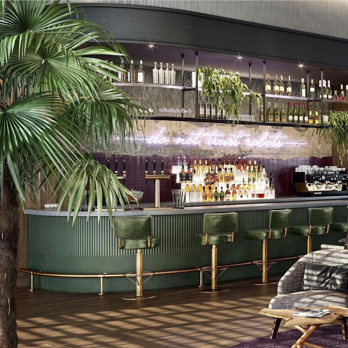 Purple and green bar at Natiivo Miami with palm trees