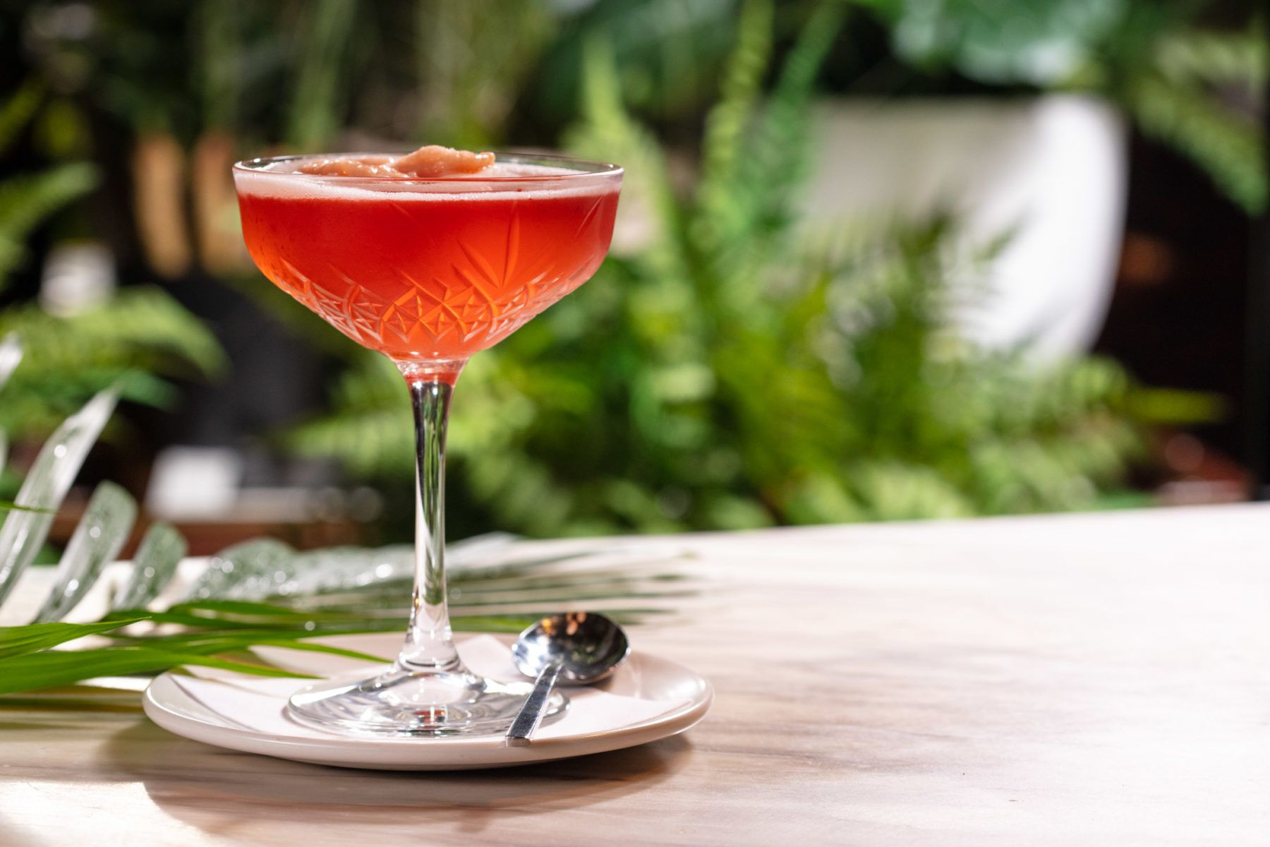 Red cocktail in crystal coupe glass